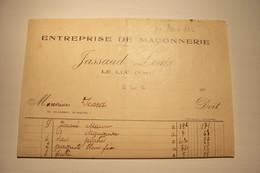 LE  LUC ( Var )  - JASSAUD  LOUIS   - ENTREPRISE De MACONNERIE -  ( 1923 ) - 1900 – 1949
