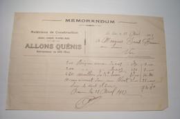 LE  LUC ( Var )  - ALLONS  QUENIS  - Matériaux De Construction  -  ( 1913 ) - 1900 – 1949