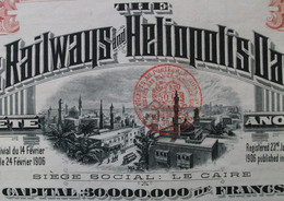 ELECTRIC RAILWAYS CAIRO AND HELIOPOLIS OASES COMP. 1907 - Ferrocarril & Tranvías