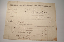 LE  LUC ( Var )  - E . GAUTIER  -Entrepot De  Matériaux De Construction  -  ( 1923 ) - 1900 – 1949