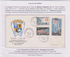 TAAF - Iles Australes - Kerguelen - Pli Jacquinot - 23-2-1964 - Lettres & Documents