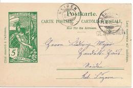 GESCHENEN Rare Cachet Linéaire + BRIGUE 1900, Entier UPU, VALAIS WALLIS, Stabstempel - Ganzsachen