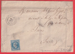 N°29 GC 386 BEAUMONT EN ARGONNE ARDENNES 1869 PARIS INDICE 13 CAD TYPE 22 - 1849-1876: Klassieke Periode