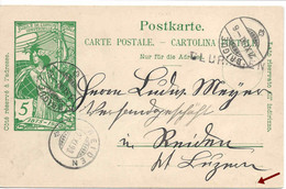 GLURINGEN Rare Cachet Linéaire + BRIGUE 1900, Entier UPU, VALAIS WALLIS, Stabstempel - Ganzsachen