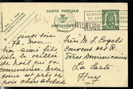 Entier Obl. ANTWERPEN 1936 + Griffe De WILRIJCK - Sello Lineal