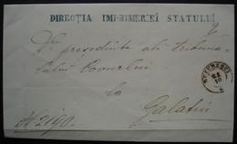 Roumanie Moldavie Directia Imprimeriei Statului, Lettre Incomplète Pour Galati, Voir Photos ! - 1858-1880 Moldavia & Principality