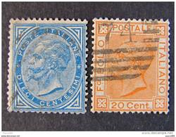 """ITALIA Regno-1877- """"Effigie V. E. II"""" Cpl. 2 Val. (descrizione) - Usati"""