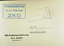 """Fern-Brief Mit ZKD-Kastenstempel """"VEB Hochbauprojektierung Aue (Sachs)"""" Vom 25.11.61 An VVB Baumwolle Karl-Marx-Stadt - Official"""