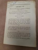 Arrêté Du 8 Prairial An XI Sur L'organisation Des Canonniers Garde-côtes Signé Du Général Gassendi - Documents Historiques