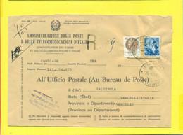 STORIA POSTALE  - MOD. 490 - MICHELANGIOLESCA + SIRACUSANA - 1946-60: Marcofilia