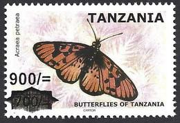 Tanzania 2020 Blood-red Acraea Acraea Petraea Butterfly Insect Overprint 900/- On 700/- MNH Mint - Schmetterlinge