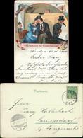 Ansichtskarte Litho AK Eisenahn - Im Abteil Wagon Liebespaar 1900 - Treni