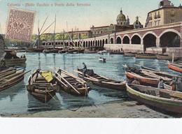 CATANIA-MOLO VECCHIO E PONTE DELLA FERROVIA-CARTOLINA VIAGGIATA IL 12-12-1909 - Catania