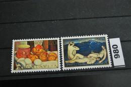 Jugoslawien   CEPT Mi. 1598 II - 1599 II  ** Postfrisch   Gemäde - 1975