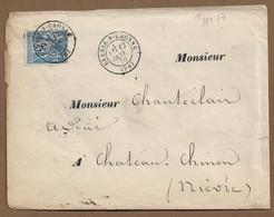 BRESSE  SUR  GROSNE : 1878 :  Lettre Avec CàD Type 17  Sur Sage  ( Saône Et Loire ) : - 1877-1920: Periodo Semi Moderno
