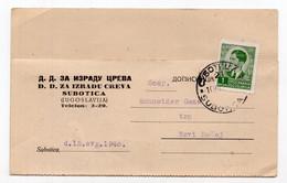 1940. KINGDOM OF YUGOSLAVIA, SERBIA,CORRESPONDENCE CARD, SAUSAGE CASING PRODUCTION,SUBOTICA TO NOVI BECEJ, - Briefe U. Dokumente