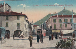 COMO-PIAZZA VITTORIA E CASTELLO BARADELLO-ANIMATA CON TRAM-CARTOLINA VIAGGIATA IL 21-12-1917 - Como