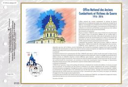 """"""" ONAC : OFFICE NATIONAL DES ANCIENS COMBATTANTS """" Sur Feuillet CEF 1er Jour  De 2016. N° YT 5113 FDC - 2010-...."""