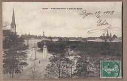 CPA 21 - DIJON - Porte Saint-Pierre Et Place Du Peuple - TB PLAN Partie De La Ville + Attelage Cheval Roulotte - Dijon