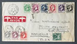 Algérie N°209 à 217 (La Série Marianne Complète) Sur Enveloppe D'Oran Pour Marseille, Taxée N°69 - (C1064) - Cartas