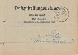 Postzustellungsurkunde Obl ARS (MOSEL) Du 25.5.43 Adressée à Metz - Elsass-Lothringen