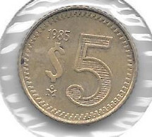 *mexico 5 Pesos 1985  Km 502   Unc - Mexico
