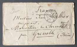 France, Enveloppe De Coblance, TAD CALAIS A PARIS Pour Grenoble 20.12.1870 - (C1128) - 1849-1876: Klassik