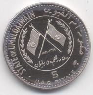 Émirats Arabes Unis  5 Riyals 1970   Ahmad Bin Rashid Al Moalla  RARE 2100EX ARGENT//SILVER - Ver. Arab. Emirate