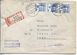 BRD # 918 (3x) Mespelbrunn Schloß Portorichtiger Einschreibebrief Stuttgart 7.2.78 > CSSR - Storia Postale