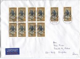 BRD # 974 (10) Fossilien Fledermaus Portorichtiger Brief 16.2.01 > Schweiz - Storia Postale