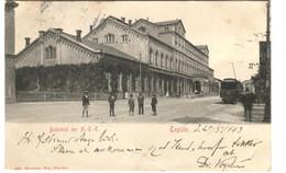 TEPLITZ RAILWAY STATION With TRAM No 26 And Street Life Sen T 1903 Ed. Hermann Poy - Czech Republic