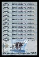 Ruanda Lot Bundle 10 Banknotes 500 Francs 2013 Pick 38 SC UNC - Ruanda-Urundi