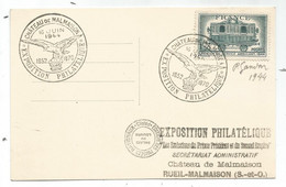 N°609 1FR AMBULANT CARTE EXPO PHIL CHATEAU MALMAISON 16 JUIN 1944 + SIGNATURE GANDON - 1921-1960: Modern Tijdperk