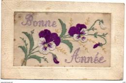 CARTE BRODEE Fleurs Brodée Sur Tulle BONNE ANNEE - Neujahr