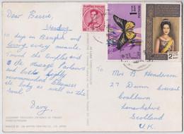 Thaïlande Carte Postale Hologramme 3D Timbre Papillon Reine Hologram Postcard Dai Nippon Thailand Butterfly Queen Stamp - Tailandia