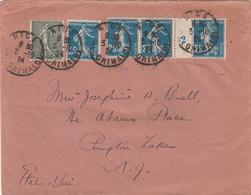LETTRE. 3 10 24. NICE POUR ETATS-UNIS. 1,15Fr. SEMEUSES. MILLESIME 2 DU 25c - 1921-1960: Modern Period