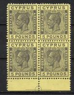 CIPRO Inglese 1924 Giorgio V Da 5 Pound Nero Su Giallo In Blocco Di 4 - FALSO FORGERIES FALSE - Sammlungen (ohne Album)