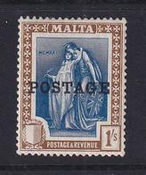Malta: 1926   Emblem  'Postage' OVPT     SG152   1/-     MH - Malta (...-1964)