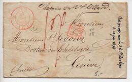 Lettre De 1838 De Paris Pour La Suisse De La Société Asiatique - Cachet Suisse CF/8E - 1801-1848: Precursors XIX