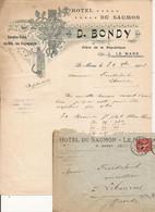 F117. LE MANS SARTHE FACTURE ET ENVELOPPE HOTEL DU SAUMON D. BONDY 1906 - 1900 – 1949