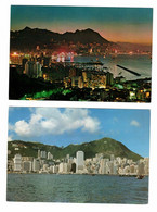 2 Different HONG KONG ISLAND, China, 1982 Chrome 4X6 Postcard - China