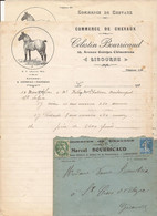 F113. LIBOURNE 33 GIRONDE LOT 2 COURRIERS COMMERCIAUX ET UNE ENVELOPPE COMMERCE DE CHEVAUX MARCEL BOURRICAUD 1925 1929 - 1900 – 1949