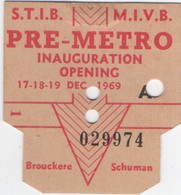 Bruxelles : Pré-Métro Inauguration Opening 17-18-19 DEC 1969 - Europe