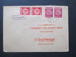Israel 1954 Stempel: Antwort Brief An Die Direktion Der Commerz Und Credit Bank Filiale Eschwege - Covers & Documents