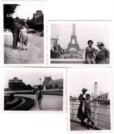 4 Photos Originales Famille & Gamin Au Béret En Ballade à Paris Sous L'Occupation, Tour Eiffel & Croix Gammées, - Personas Anónimos