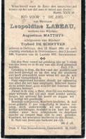 Léopoldine Labeau Née à Deftinge Vve Augustinus Mathys, épouse De Tryfond De Schryver Décédée à Overboulaere - Devotieprenten