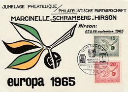 Carte Maximum - Jumelage Philatélique - Marcinelle-Schramberg-Hirson - Europa 1965 - Cartoline Maximum