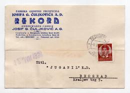 1938. KINGDOM OF YUGOSLAVIA,SERBIA,CORRESPONDENCE CARD,REKORD,TYRE FACTORY,J. CULJKOVIC,LESKOVAC - Briefe U. Dokumente