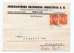 1937. KINGDOM OF YUGOSLAVIA,SERBIA,INDJIJA,CORRESPONDENCE CARD,YUGOSLAV FUR INDUSTRY - Briefe U. Dokumente