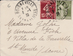 AFFRANCHISSEMENT COMPOSE SUR DEVANT DE MIGNONETTE DE BOIGNEVILLE SEINE ET OISE 1939 - 1921-1960: Modern Period